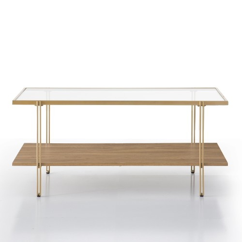 Joline Coffee Table (Glass/Pine)