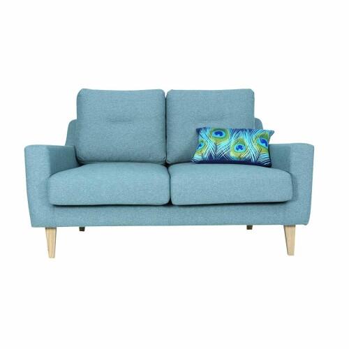 Malibu 2 Seater Sofa with Oak Leg, Marble Blue