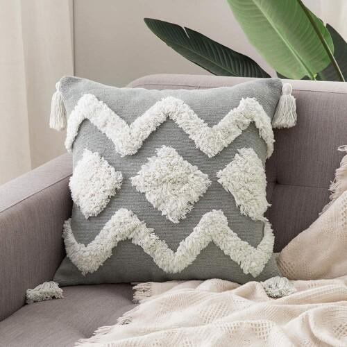 Chaka II Tufted Cushion With Tassles