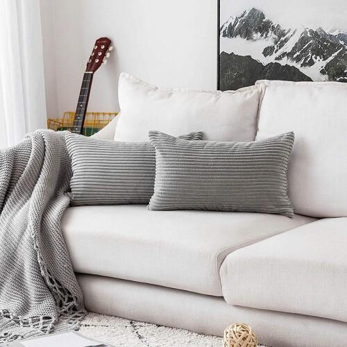 Ciara Corduroy Stripe Cushion (Grey)