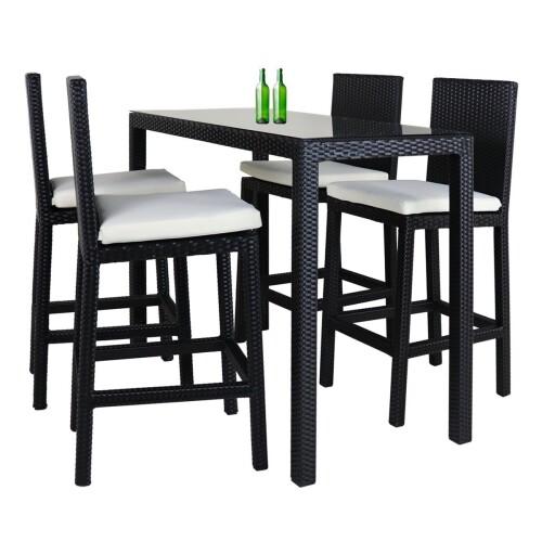 Midas Long 4 Chair Bar Set White Cushion