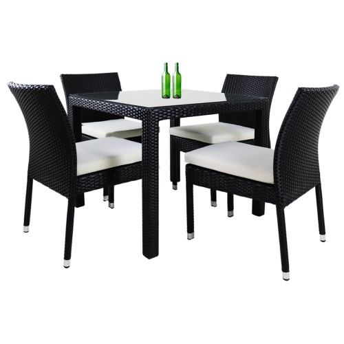 Monde 4 Chair Dining Set White Cushion