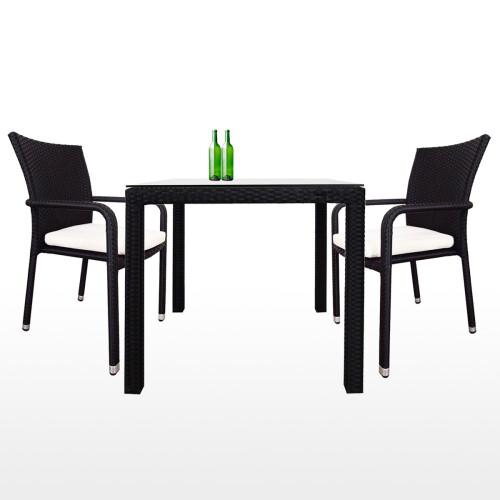 Palm 2 Chair Dining Set, White Cushion