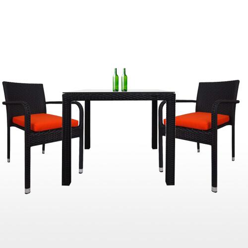 Palm 2 Chair Dining Set, Orange Cushion