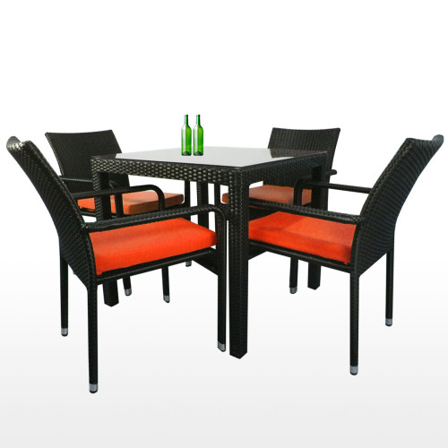 Palm 4 Chair Dining Set, Orange Cushion (2 Year Warranty)