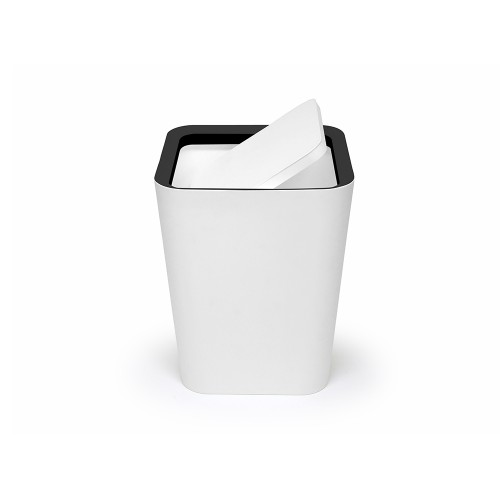 Mini Square Flip Bin (White) By Qualy