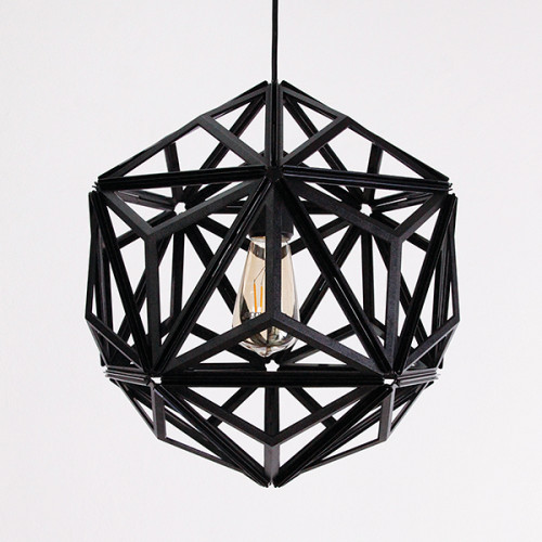 Icosa Wireframe Pendant Lamp (Black) by Qualy