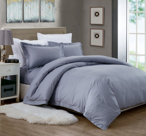 OC - Royal Hotel Collection Sateen Series Luxury Grey Check Bed Set