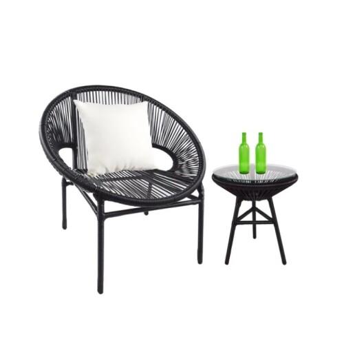 Shelton 1 Chair + Coffee Table Set, White Pillow