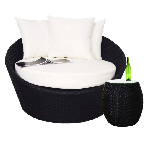 Round Sofa with Coffee Table, White Cushion
