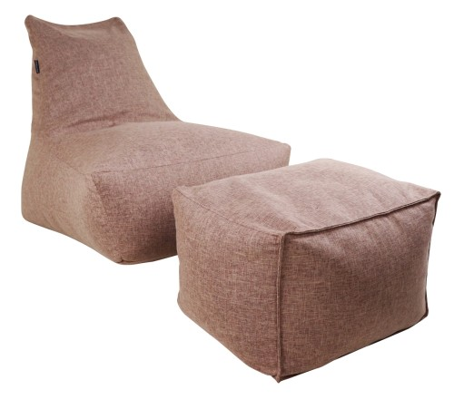Vetro Bean Bag with Ottoman in Coffee Brown