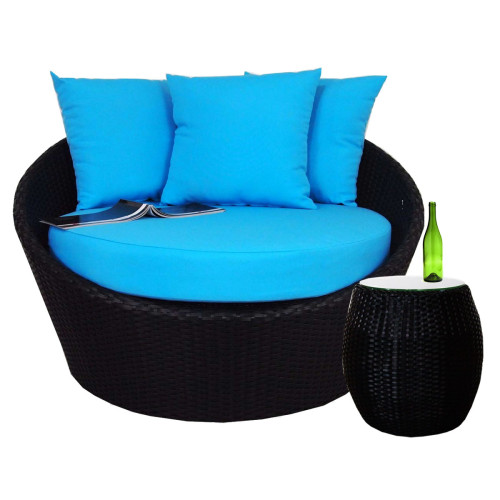Round Sofa with Coffee Table, Blue Cushion