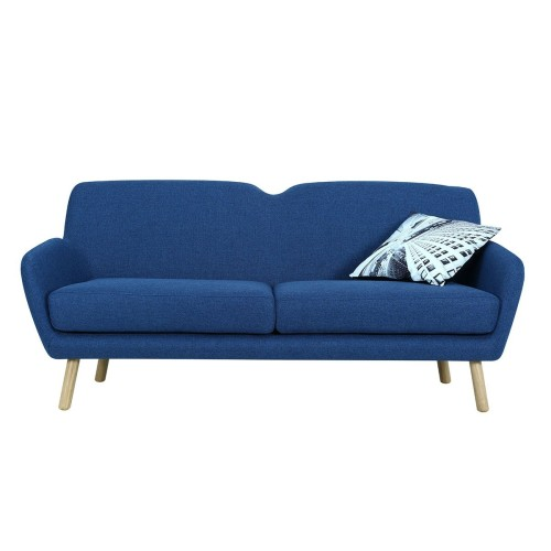 Wagon 3 Seater Sofa with Oak Leg, Midnight Blue
