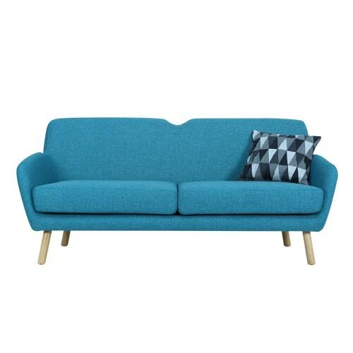 Wagon 3 Seater Sofa with Oak Leg, Nile Green