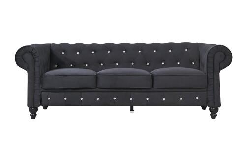 Allegra 3-Seater Chesterfield Sofa (Black)
