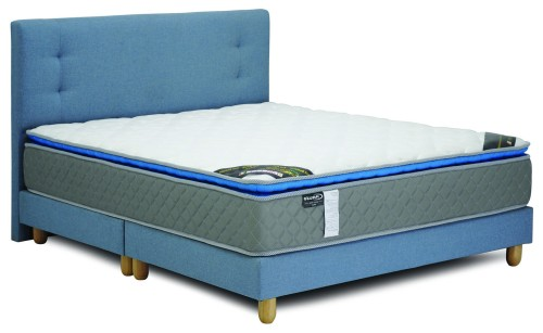 Caruso Package: Caruso Latex Spring Mattress + Suri BedFrame (King Sized, Light Blue)