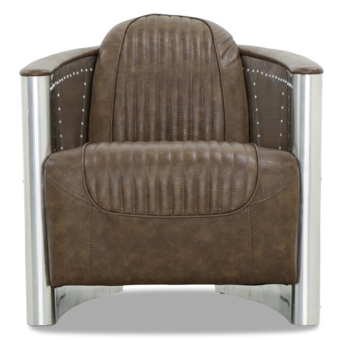 Aviator Replica Armchair Old Brown PU Leather (Aluminium Silver)