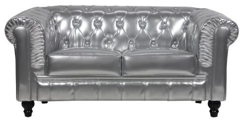 Benjamin Classical 2 Seater PU Leather Sofa (Silver)