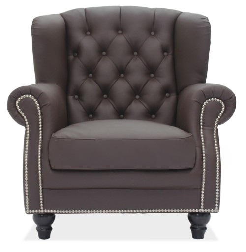Genma Classical Dark Brown PU Leather Arm Chair