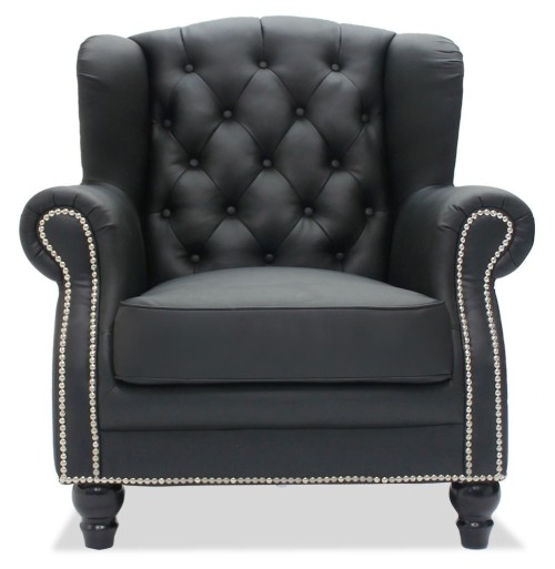 Genma Classical Black PU Leather Arm Chair