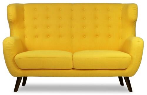 Replica WingBack Designer 2 Seater Sofa (Yellow)