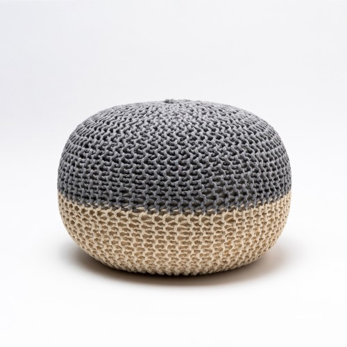 Tumelo Knitted Pouffe (Light Grey/Beige)
