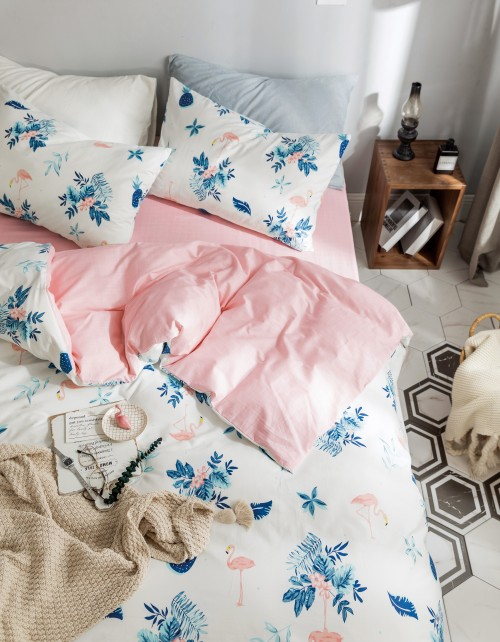 Bedding Day 100% Cotton Sateen 800TC Fitted Sheet Set - Flamingo