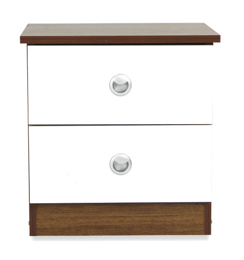 Kendall Side Table in Snow White and Walnut