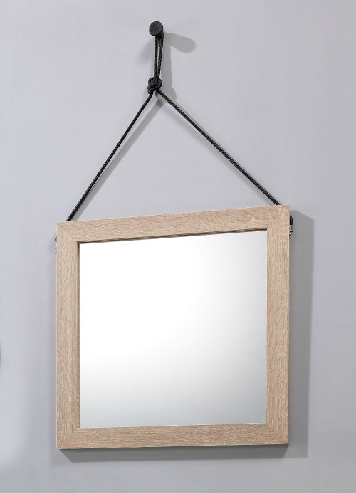 Lillo Hanging Mirror with Hang Rope-Black