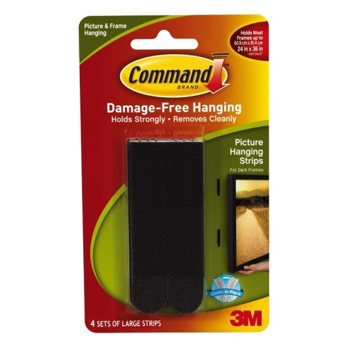 3M Command™ 17206BLK Large Picture Hanging Strips Black
