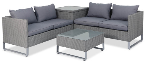 Royal Synthetic Rattan Outdoor Sofa Set with Storage Box (Grey)