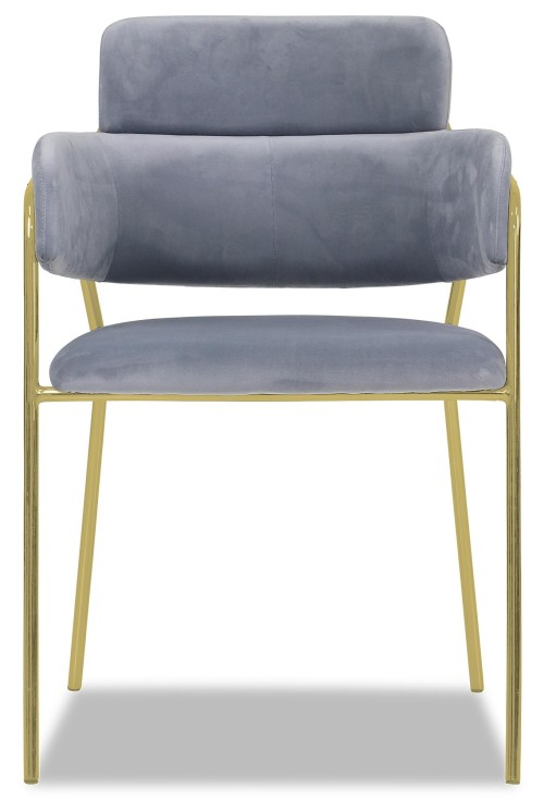 Emmiel Chair with Gold Legs in Grey