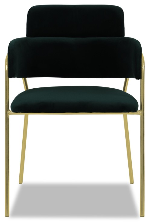 Emmiel Chair with Gold Legs in Green