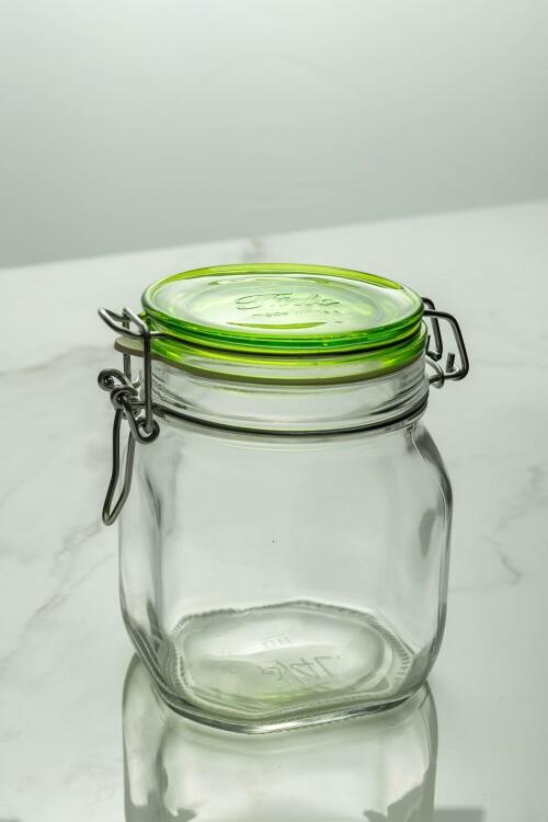 Fido Glass Jar 750ml (Clear/Lime Green Lid)