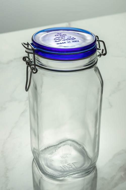 Fido Glass Jar 1500ml (Clear/Navy Blue Lid)