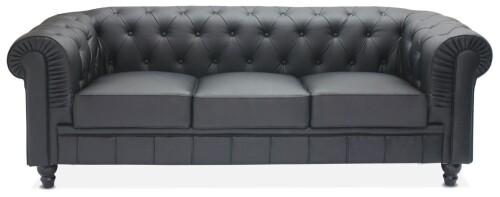 Benjamin Classical 3 Seater Half Leather Sofa (Black)