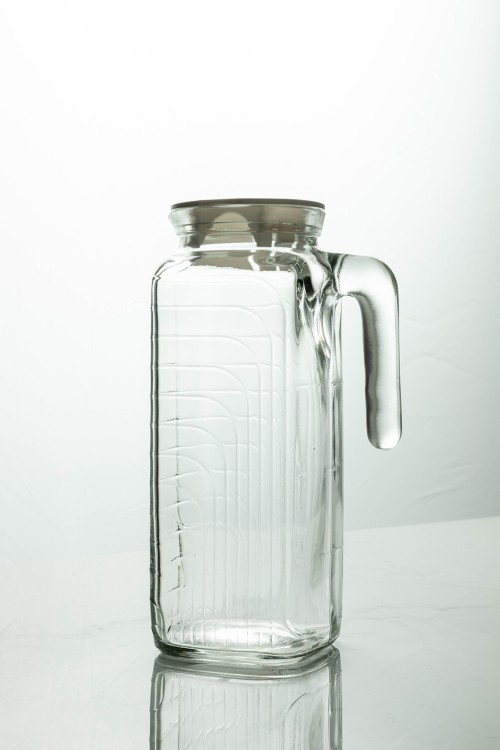 Gelo Glass Jug 1200ml (Clear/White Lid)