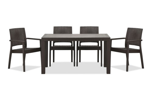 Landon Outdoor Dining Set in Coffee (1+6)