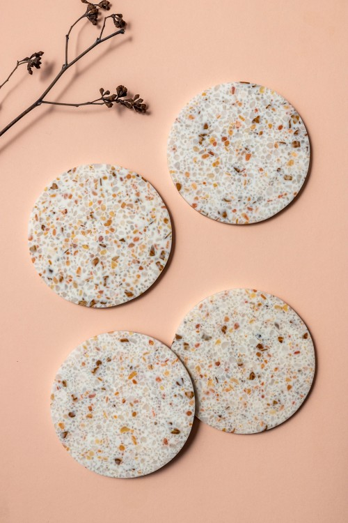 Aoife Coasters with Holder, Set of 4 (Terrazzo)