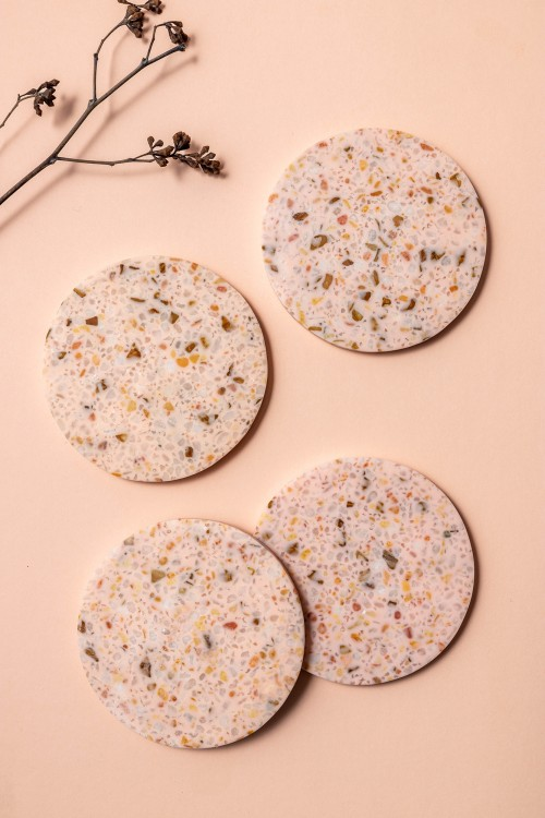 Aoife III  Coaster with Holder, Set of 4 (Terrazzo)