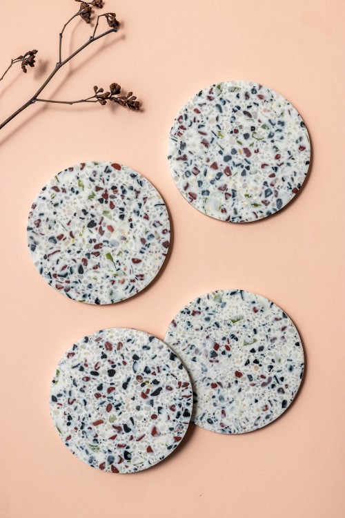Aoife IV  Coaster with Holder, Set of 4 (Terrazzo)