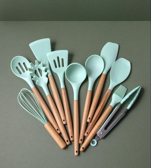 Staci 11-Piece Silicone Kitchen Utensil Set (Mint)