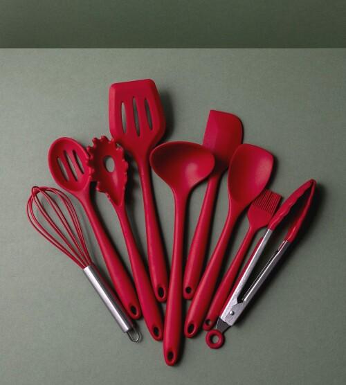 Cheri 10-Piece Silicone Kitchen Utensil Set (Red)