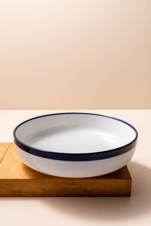 Freja Low Bowl (White/Navy Blue)