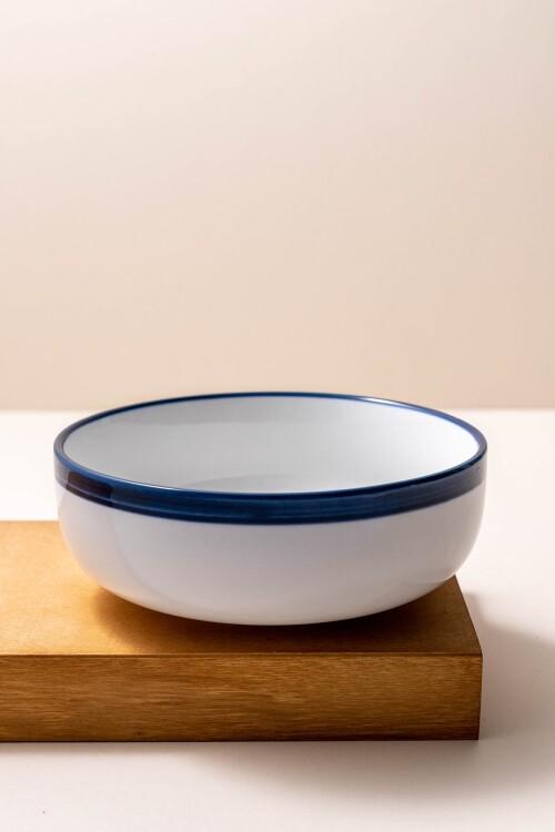 Freja Rice Bowl (White/Navy Blue)