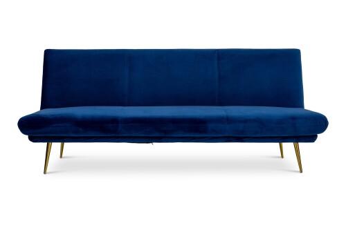 Nissa 3 Seater Sofa Bed in Blue Velvet