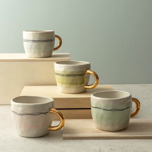 Calla 4-Piece Hand-Painted Mugs with Gold Handles