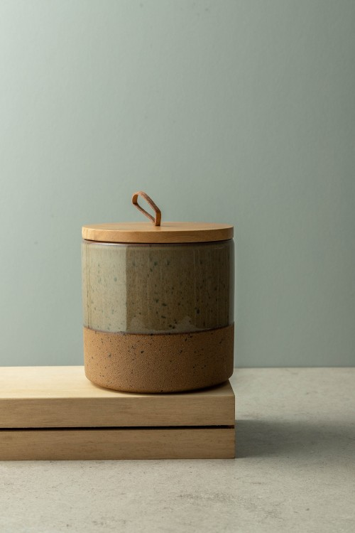 Leah Small Canister With Wood Lid (Taupe)