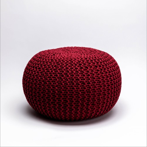 Tumelo Knitted Pouffe (Red)