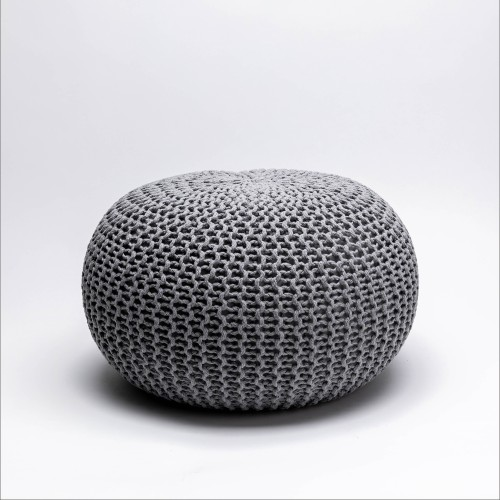 Tumelo Knitted Pouffe (Light Grey)